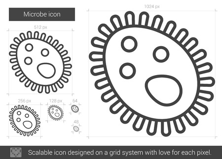 epidemiology: Microbe vector line icon isolated on white background. Microbe line icon for infographic, website or app. Scalable icon designed on a grid system.