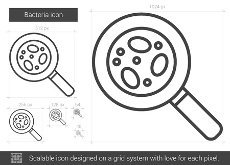 cleanliness: Bacteria vector line icon isolated on white background. Bacteria line icon for infographic, website or app. Scalable icon designed on a grid system.