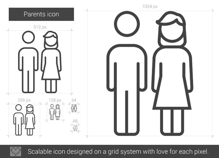 Parents vector line icon isolated on white background. Parents line icon for infographic, website or app. Scalable icon designed on a grid system. Vectores
