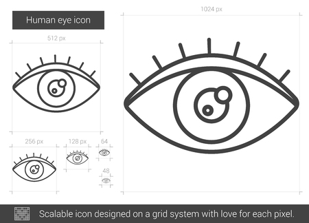 shortsighted: Human eye vector line icon isolated on white background. Human eye line icon for infographic, website or app. Scalable icon designed on a grid system.
