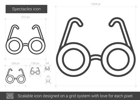 眼鏡ベクトル線のアイコンが白い背景で隔離。グリッド システムで設計されたインフォ グラフィック、web サイトまたはアプリケーションのスケー  イラスト・ベクター素材