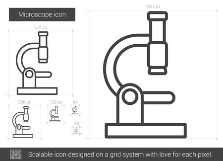 electronic survey: Microscope vector line icon isolated on white background. Microscope line icon for infographic, website or app. Scalable icon designed on a grid system.