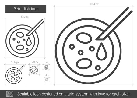 Petri dish vector line icon isolated on white background. Petri dish line icon for infographic, website or app. Scalable icon designed on a grid system. Illustration