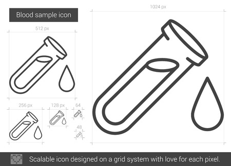 blood sample: Blood sample vector line icon isolated on white background. Blood sample line icon for infographic, website or app. Scalable icon designed on a grid system.