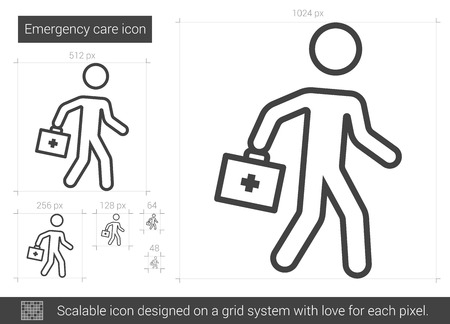 Emergency care vector line icon isolated on white background. Emergency care line icon for infographic, website or app. Scalable icon designed on a grid system. Ilustracja