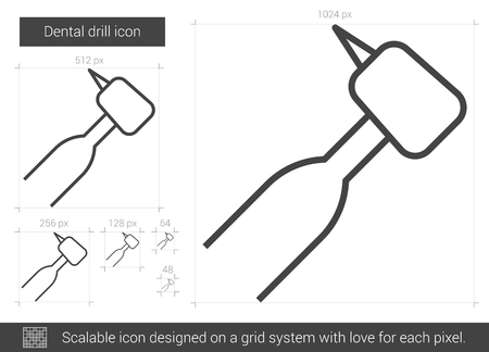 Dental drill vector line icon isolated on white background. Dental drill line icon for infographic, website or app. Scalable icon designed on a grid system. Ilustração