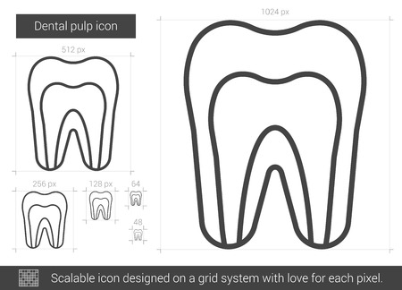 root canal: Dental pulp vector line icon isolated on white background. Dental pulp line icon for infographic, website or app. Scalable icon designed on a grid system.