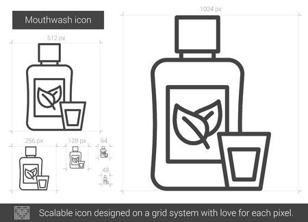 enjuague bucal: Enjuague bucal icono de la línea vector aislado en el fondo blanco. icono de la línea de enjuague bucal de infografía, sitio web o aplicación. icono escalable diseñada en un sistema de red. Vectores