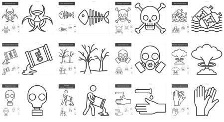 explosion hazard: Ecology biohazard vector line icon set isolated on white background. Ecology biohazard line icon set for infographic, website or app. Scalable icon designed on a grid system.