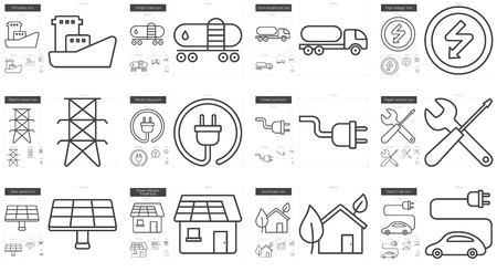 electric grid: Ecology vector line icon set isolated on white background. Ecology line icon set for infographic, website or app. Scalable icon designed on a grid system.