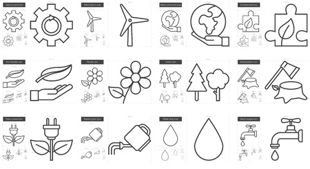 minimal: Ecology vector line icon set isolated on white background. Ecology line icon set for infographic, website or app. Scalable icon designed on a grid system.