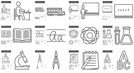 scalable: Education vector line icon set isolated on white background. Education line icon set for infographic, website or app. Scalable icon designed on a grid system.