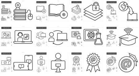 Education vector line icon set isolated on white background. Education line icon set for infographic, website or app. Scalable icon designed on a grid system.