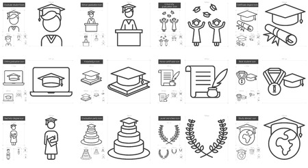 Education vector line icon set isolated on white background. Education line icon set for infographic, website or app. Scalable icon designed on a grid system. Stock Vector - 65456297