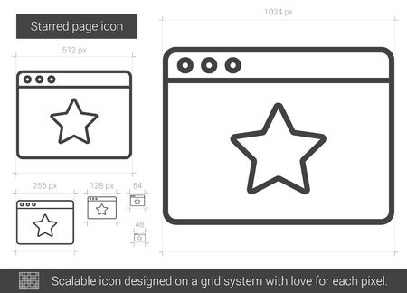 valuation: Starred page vector line icon isolated on white background. Starred page line icon for infographic, website or app. Scalable icon designed on a grid system. Illustration