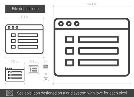File details vector line icon isolated on white background. File details line icon for infographic, website or app. Scalable icon designed on a grid system.