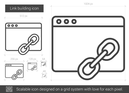 building site: Link building vector line icon isolated on white background. Link building line icon for infographic, website or app. Scalable icon designed on a grid system. Illustration
