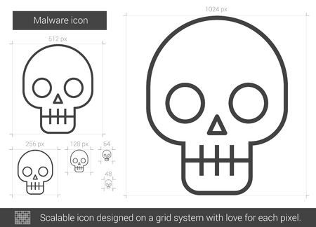 malware: Malware vector line icon isolated on white background. Malware line icon for infographic, website or app. Scalable icon designed on a grid system. Illustration