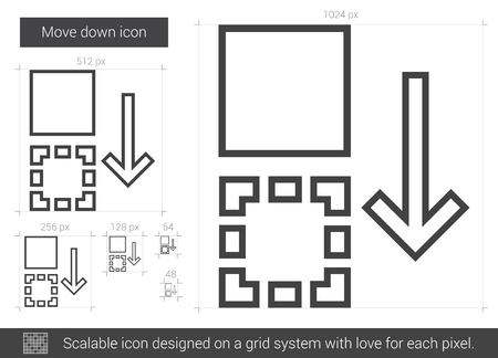 shifting: Move down vector line icon isolated on white background. Move down line icon for infographic, website or app. Scalable icon designed on a grid system.