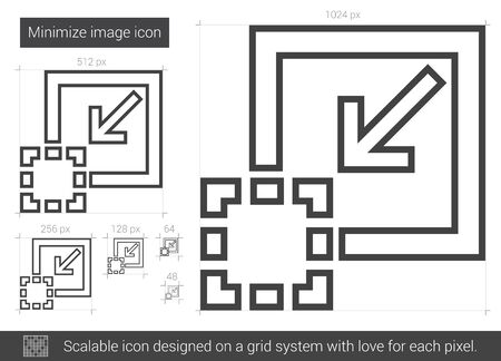 Minimize image vector line icon isolated on white background. Minimize image line icon for infographic, website or app. Scalable icon designed on a grid system. 向量圖像