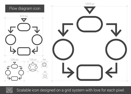 Flussdiagrammvektorlinie Ikone Lokalisiert Auf Weißem Hintergrund ...