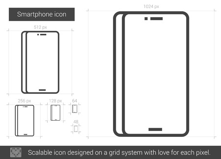 Smartphone vector line icon isolated on white background. Smartphone line icon for infographic, website or app. Scalable icon designed on a grid system. Stock fotó - 66422257