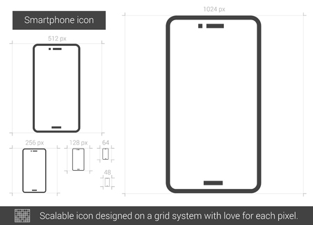 touchpad: Smartphone vector line icon isolated on white background. Smartphone line icon for infographic, website or app. Scalable icon designed on a grid system.