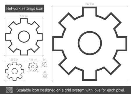 Network settings vector line icon isolated on white background. Network settings line icon for infographic, website or app. Scalable icon designed on a grid system. 向量圖像