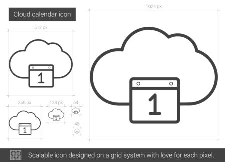 Cloud calendar vector line icon isolated on white background. Cloud calendar line icon for infographic, website or app. Scalable icon designed on a grid system.