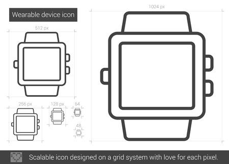 ウェアラブル デバイス ベクトル線のアイコンが白い背景で隔離。インフォ グラフィック、ウェブサイトやアプリ スケーラブルなアイコンのための