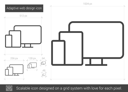 response: Adaptive web design vector line icon isolated on white background. Adaptive web design line icon for infographic, website or app. Scalable icon designed on a grid system.
