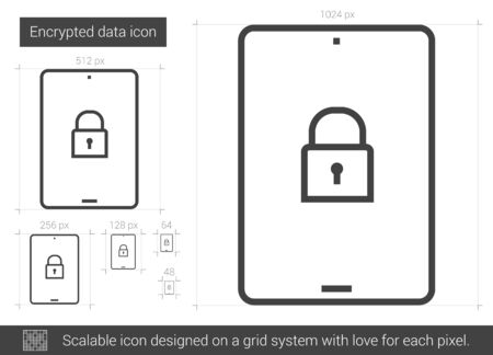 authenticate: Encrypted data vector line icon isolated on white background. Encrypted data line icon for infographic, website or app. Scalable icon designed on a grid system. Illustration