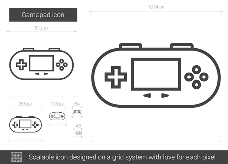 Gamepad vector line icon isolated on white background. Gamepad line icon for infographic, website or app. Scalable icon designed on a grid system. 矢量图像