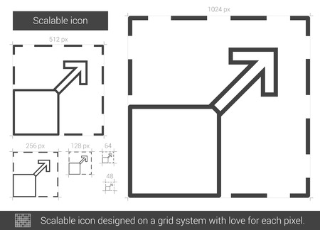 scalable: Scalable vector line icon isolated on white background. Scalable line icon for infographic, website or app. Scalable icon designed on a grid system. Illustration