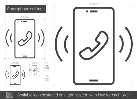 Smartphone vector line icon isolated on white background. Smartphone line icon for infographic, website or app. Scalable icon designed on a grid system.