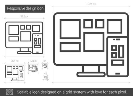 touchpad: Responsive design vector line icon isolated on white background. Responsive design line icon for infographic, website or app. Scalable icon designed on a grid system.