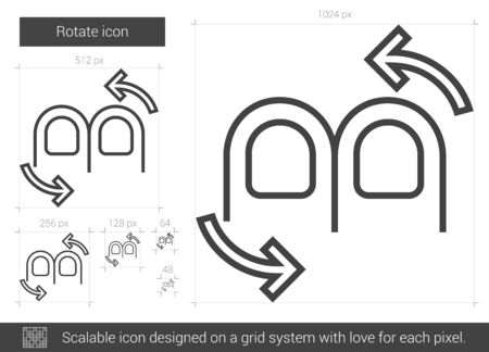 rotate: Rotate vector line icon isolated on white background. Rotate line icon for infographic, website or app. Scalable icon designed on a grid system. Illustration