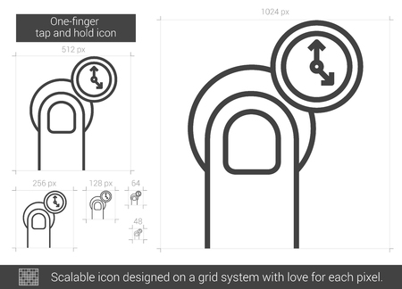 One-finger tap and hold vector line icon isolated on white background. One-finger tap and hold line icon for infographic, website or app. Scalable icon designed on a grid system. Ilustração