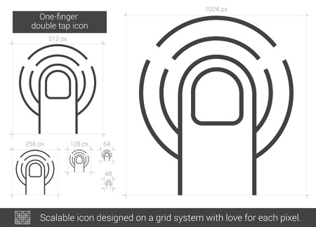 double tap: One-finger double tap vector line icon isolated on white background. One-finger double tap line icon for infographic, website or app. Scalable icon designed on a grid system.