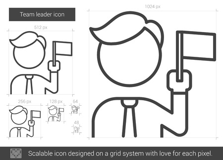 labourer: Team leader vector line icon isolated on white background. Team leader line icon for infographic, website or app. Scalable icon designed on a grid system.