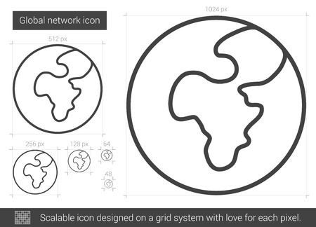 transnational: Global network vector line icon isolated on white background. Global network line icon for infographic, website or app. Scalable icon designed on a grid system.