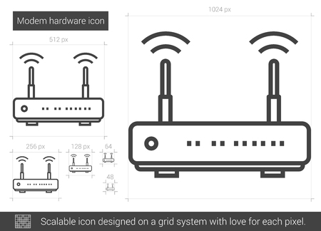 Modem hardware vector line icon isolated on white background. Modem hardware line icon for infographic, website or app. Scalable icon designed on a grid system. Ilustrace