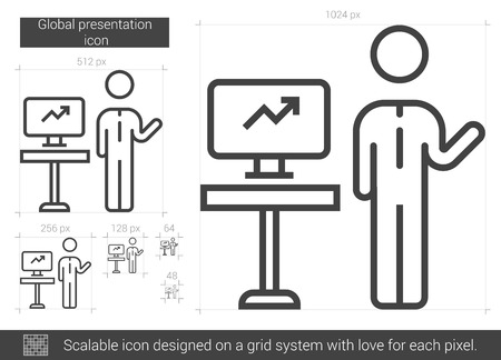 Global presentation vector line icon isolated on white background. Global presentation line icon for infographic, website or app. Scalable icon designed on a grid system.