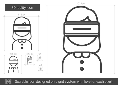 three d: Three D reality vector line icon isolated on white background. Three D reality line icon for infographic, website or app. Scalable icon designed on a grid system.