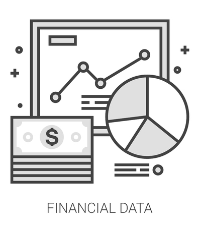 Financial data infographic metaphor with line icons. Project financial data concept for website and infographics. Vector line art icon isolated on white background. Vector Illustration