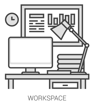 metaphor: Workplace infographic metaphor with line icons. Workplace concept for website and infographics. Vector line art icon isolated on white background.