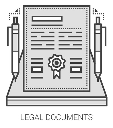 signing papers: Legal documents infographic metaphor with line icons. Project legal documents concept for website and infographics. Vector line art icon isolated on white background.
