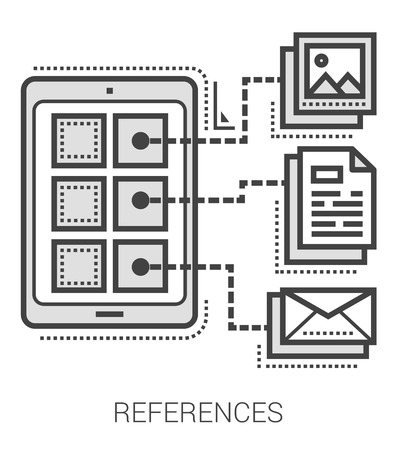 References infographic metaphor with line icons. Project references concept for website and infographics. Vector line art icon isolated on white background. 向量圖像