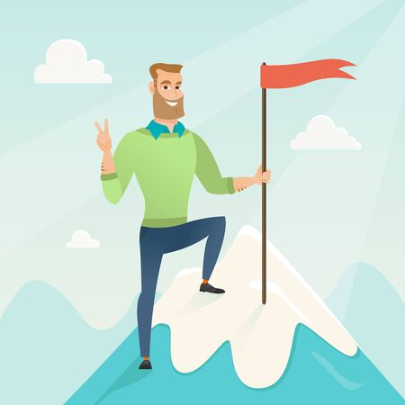 achieved: Businessman achieved flag on the top of mountain. Businessman celebrating his business achievement on the peak of mountain. Business achievement concept. Vector flat design illustration. Square layout