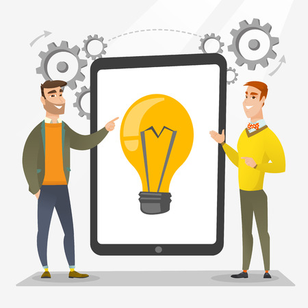 Creative business team brainstorming. Two businessmen during brainstorming session pointing finger at light bulb on tablet screen. Brainstorming concept. Vector flat design illustration. Square layout Çizim
